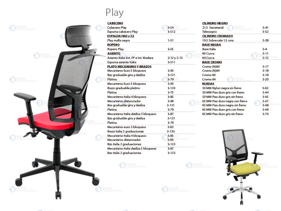 Partes y accesorios para sillas::